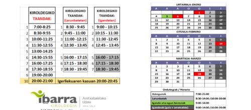 Calendario + turnos 2021