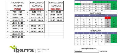 Calendario + turnos 2021. NUEVO!!